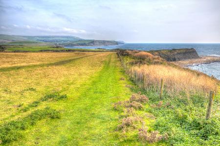 kimmeridge: Coast path to Kimmeridge Bay east of Lulworth Cove and near Kimmeridge village on the Dorset coast England uk one of Lulworth range walks Stock Photo