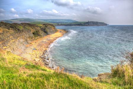 Kimmeridge Bay Dorset coast England uk in colourful HDR one of Lulworth range walks