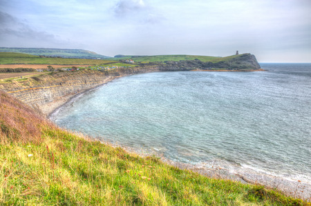 kimmeridge bay: Kimmeridge Bay east of Lulworth Cove on the Dorset coast England uk in colourful HDR one of Lulworth range walks to Clavell Tower