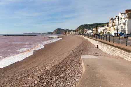jurassic coast: Sidmouth beach and seafront Devon England UK with a view along the Jurassic Coast Stock Photo