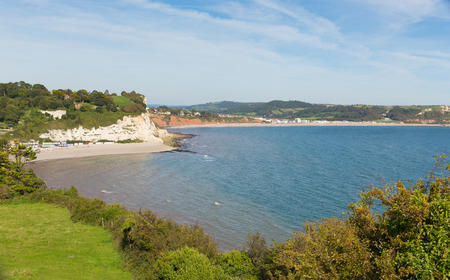 lyme: Lyme bay and Beer and Seaton beaches Devon England UK from the South West Coast Path in summer with blue sky Stock Photo