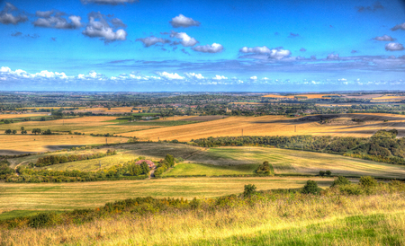 English countryside from Ivinghoe Beacon Chiltern Hills Buckinghamshire England UK in colourful HDR Stock Photo