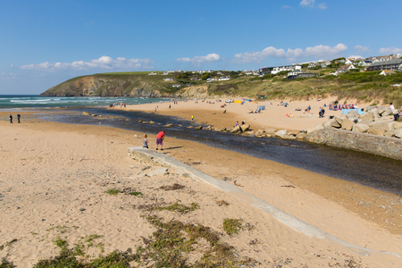 september 9th: MAWGAN PORTH, NORTH CORNWALL-SEPTEMBER 9th 2015: Beautiful late summer sun and fine weather drew visitors to the coast at Mawgan Porth, North Cornwall on Wednesday 9th September 2015