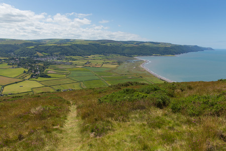 south west england: View from Selworthy Beacon to Porlock Bay Somerset England UK near Exmoor and west of Minehead on the south west coast path Stock Photo