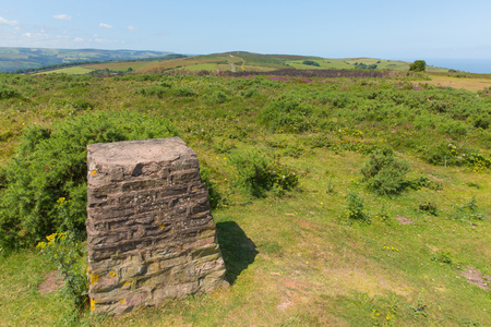 county somerset: Trig Point on North Hill near Minehead UK with beautiful Somerset countryside in the west of England