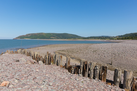 somerset: Porlock Weir beach Somerset on the Exmoor Heritage coast England UK in summer on the south west coast path