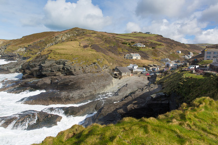isaac s: Small Cornish coast village Trebarwith Strand North Cornwall England UK between Tintagel and Port Isaac