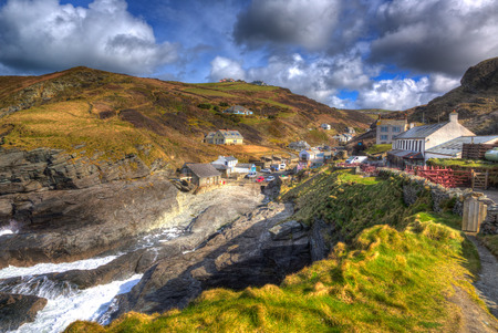 Trebarwith Strand North Cornwall England UK coastal village between Tintagel and Port Isaac in colourful HDR