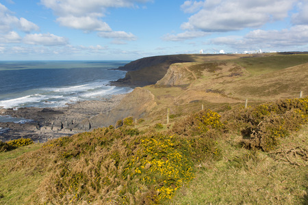 south west england: South west coast path view north of Sandymouth Cornwall England UK towards GCHQ