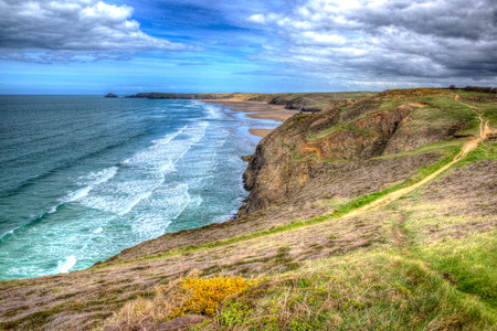 south west england: South West Coast Path towards Perranporth North Cornwall England UK hdr