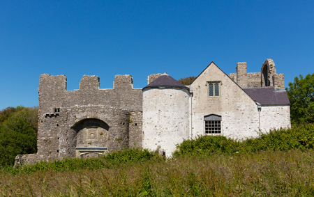 bristol channel: Oxwich Castle The Gower South Wales UK Stock Photo