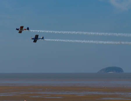 steep holm: Weston-super-Mare airshow Somerset UK with planes and Steep Holm island