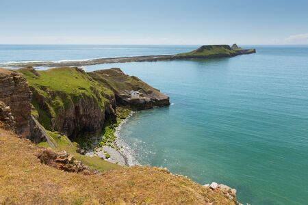 Worms Head Rhossili The Gower peninsula Wales UK small tidal island which you can walk to at low tide Stock Photo