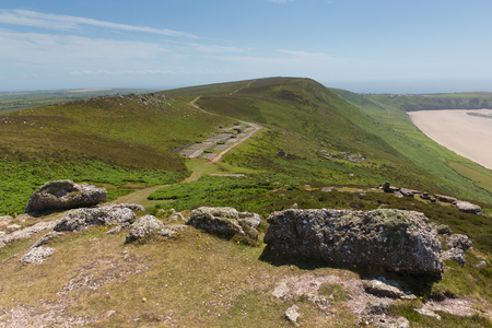 disused: Old disused Radar Station Rhossili Down The Gower Wales UK in summer