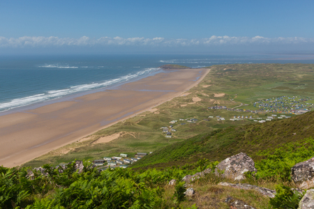cymru: Elevated view of Rhossili beach the Gower one of the best UK beaches Stock Photo