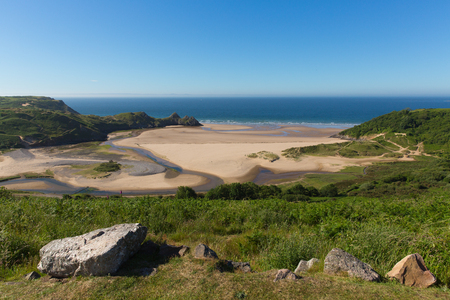 Gower coast Wales Three Cliffs Bay Wales uk in summer sunshine beautiful part of the peninsula