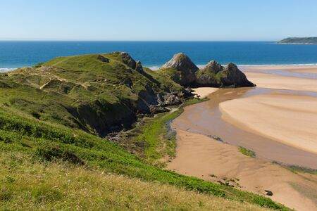 The beautiful Gower peninsula wales uk Three Cliffs Bay summer sunshine Stock Photo