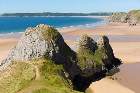 cymru: Three Cliffs Bay the Gower Wales uk in summer sunshine beautiful part of the peninsula