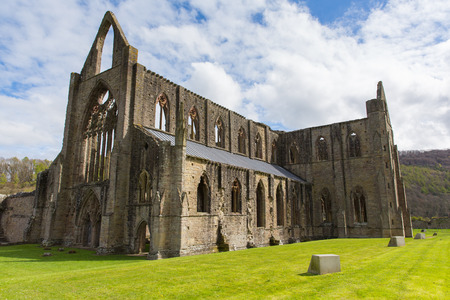 abbey ruins abbey: Tintern Abbey Wales UK near Chepstow ruins of Cistercian monastery popular tourist destination