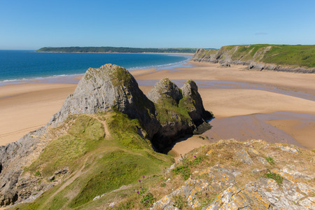 bristol channel: Three Cliffs Bay the Gower Wales uk in summer sunshine beautiful part of the peninsula