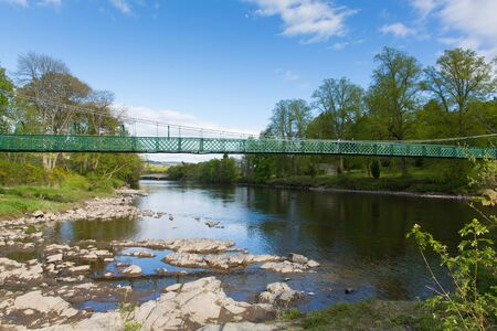 scotish: River Tummel Pitlochry Scotland UK in Perth and Kinross popular tourist destination in summer Stock Photo