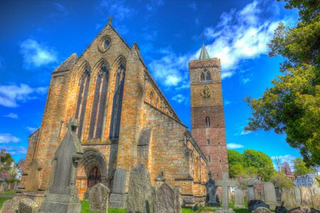 scotish: Dunblane Cathedral Scotland UK near Stirling medieval church in colourful HDR