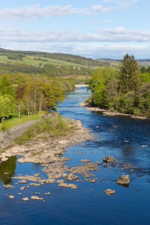 scotish: Scottish River Tummel Pitlochry Scotland UK in Perth and Kinross popular tourist destination in summer Stock Photo