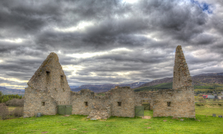 the jacobite: Ruthven Barracks Badenoch Cairngorns National Park Scotland UK ancient historic fortification in HDR Stock Photo