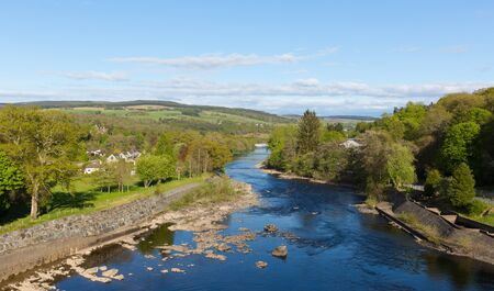 scotish: Pitlochry Scotland UK view of River Tummel in Perth and Kinross a popular tourist destination in summer