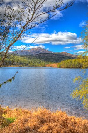 scotish: Beautiful Scottish Loch Garry Scotland UK lake west of Invergarry on the A87 south of Fort Augustus and north of Fort William in colourful HDR Stock Photo