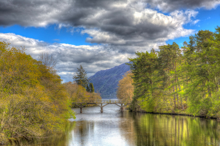 ness river: Fort Augustus Scotland UK River Oich in Scottish Highlands popular tourist village next to Loch Ness in colourful HDR