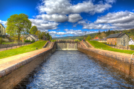 canal lock: Caledonian canal lock gate Fort Augustus Scotland UK in colourful HDR