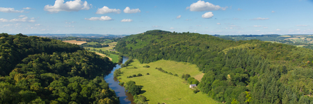 Beautiful English countryside in the Wye Valley and River Wye between the counties of Herefordshire and Gloucestershire England UK panoramic view Stock Photo