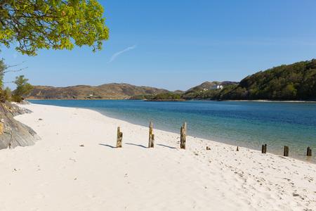 Scottish white sandy beach Morar south of Mallaig west Scotland uk Banque d'images