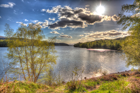 scotish: Scottish loch Scotland UK in colourful HDR