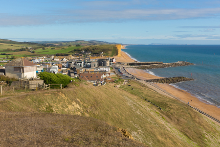 jurassic coast: West Bay Dorset uk Jurassic coast on a beautiful summer day with blue sky and sea Editorial
