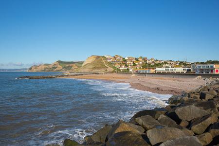 West Bay Dorset uk beach and coastal view to Golden Cap Stock Photo
