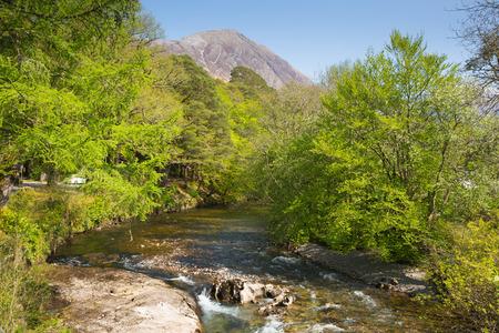 River Coe Glencoe Village Lochaber Scottish Highlands Scotland UK Stok Fotoğraf