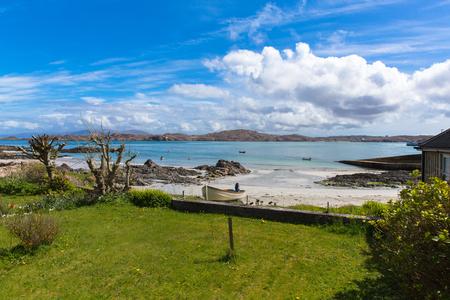 Mull: Isle of Iona Scotland uk Scottish island beautiful white sand beach and view to Mull