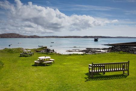 Isle of Iona Scotland uk Scottish island beautiful white sand beach and view to Mull