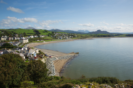 Criccieth Wales UK located south of Caernarfon in summer on Cardigan Bay Stock Photo