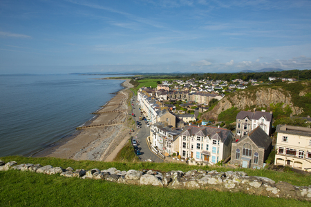 Criccieth North Wales UK historic coastal town in summer with blue sky on a beautiful day Stock Photo
