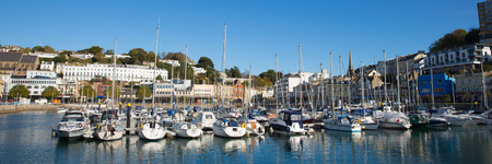 Torquay Devon UK harbour with boats and yachts on beautiful day on the English Riviera panoramic view
