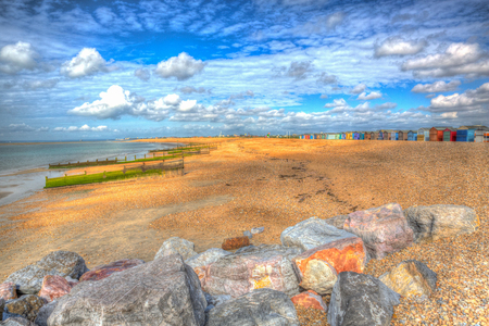 Hayling Island beach near Portsmouth south coast of Hampshire England UK in colourful hdr