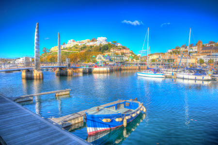 Torquay Devon UK harbour with boats and yachts on beautiful day on the English Riviera in colourful HDR