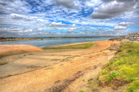 Langstone harbour Hayling Island near Portsmouth south coast of Hampshire England UK in colourful hdr