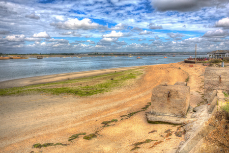 Langstone harbour Hayling Island near Portsmouth south coast England UK in colourful hdr