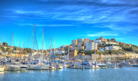 Torquay Devon UK on beautiful day on the English Riviera in colourful HDR