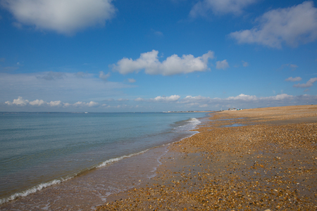 Hayling Island beach and blue sea near Portsmouth south coast of England UK
