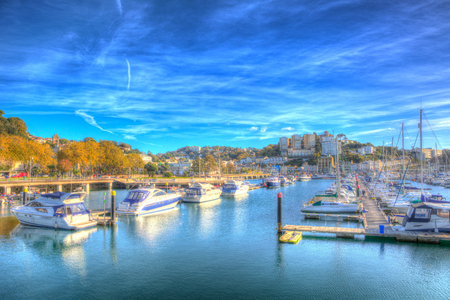 Torquay Devon UK with boats and yachts on beautiful day on the English Riviera in colourful HDR